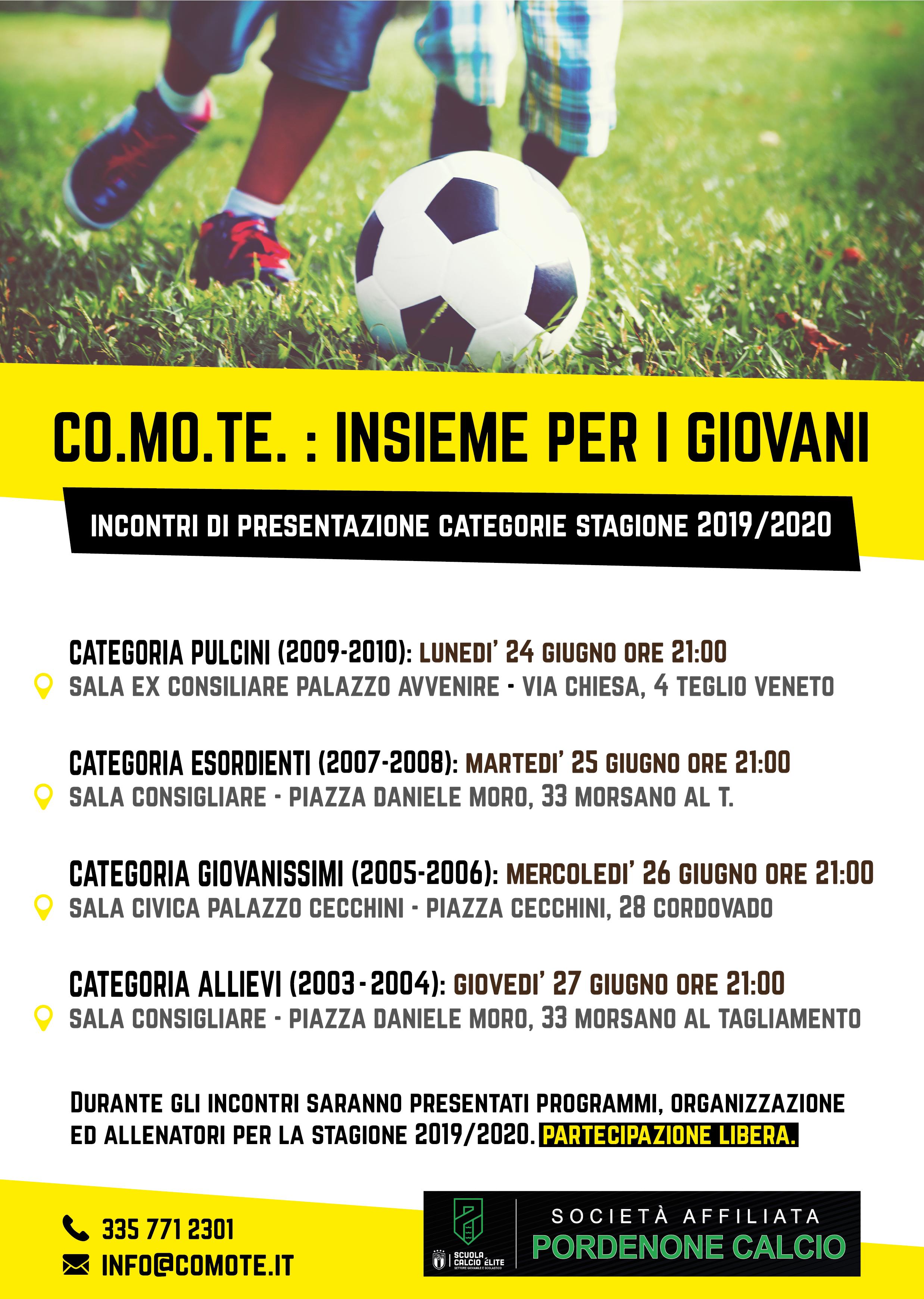 Calendario Pordenone Calcio.Co Mo Te Calendario Incontri Settore Giovanile 2019 2020